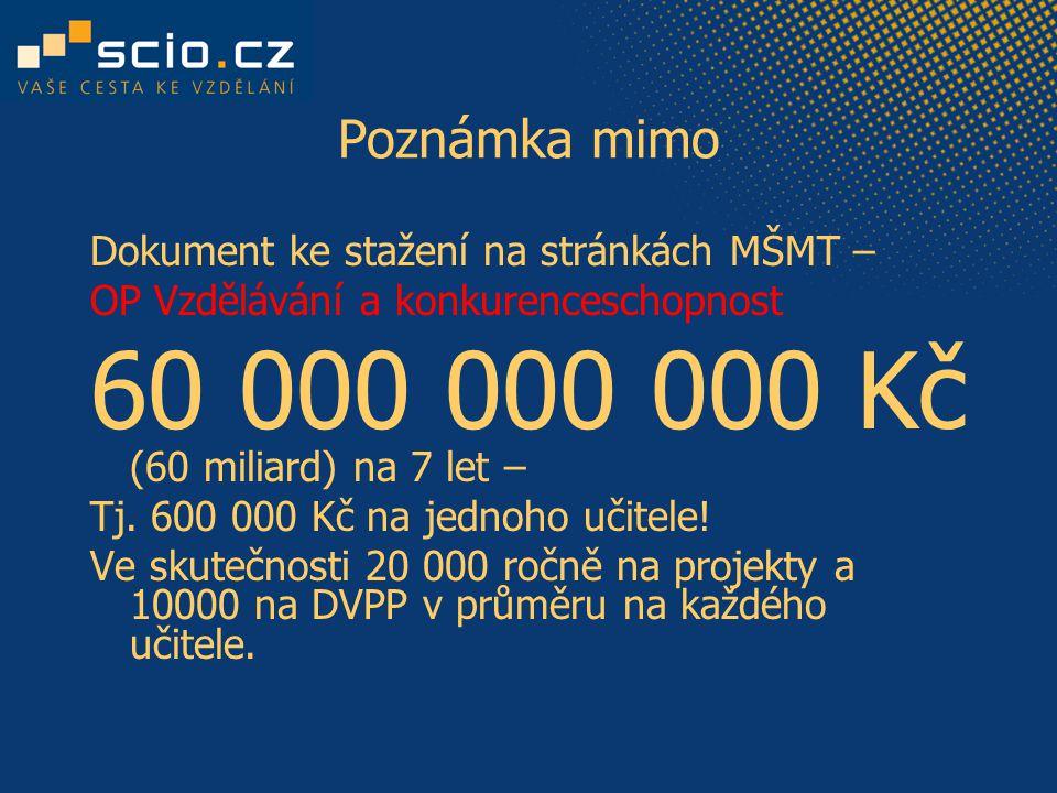 Poznámka mimo Dokument ke stažení na stránkách MŠMT – OP Vzdělávání a konkurenceschopnost 60 000 000 000 Kč (60 miliard) na 7 let – Tj.