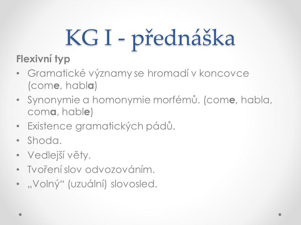 KG I - přednáška Flexivní typ Gramatické významy se hromadí v koncovce (com e, habl a ) Synonymie a homonymie morfémů.