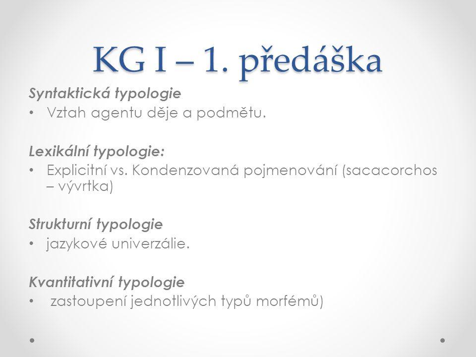 KG I – 1.předáška Syntaktická typologie Vztah agentu děje a podmětu.