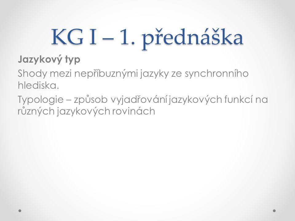 KG I – 1.přednáška Jazykový typ Shody mezi nepříbuznými jazyky ze synchronního hlediska.