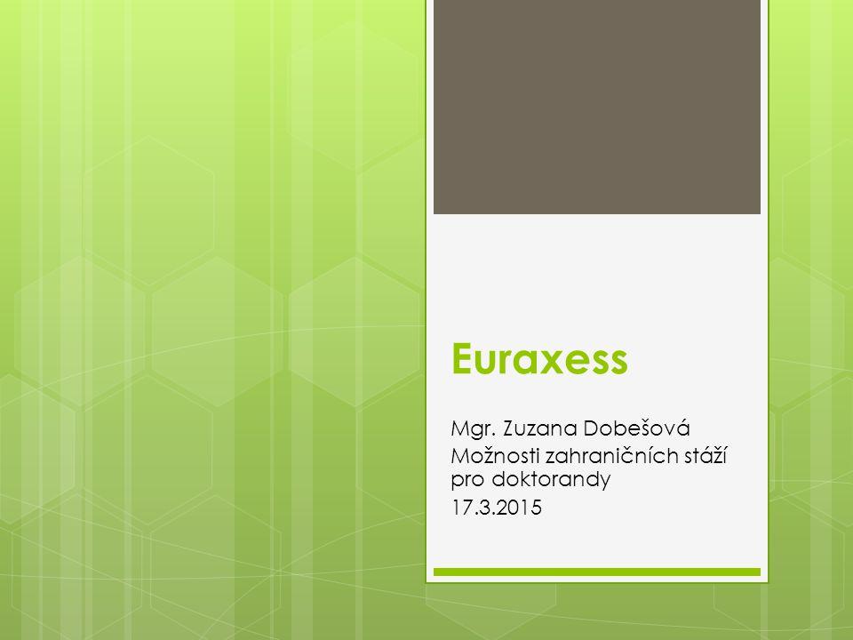 Euraxess Mgr. Zuzana Dobešová Možnosti zahraničních stáží pro doktorandy 17.3.2015