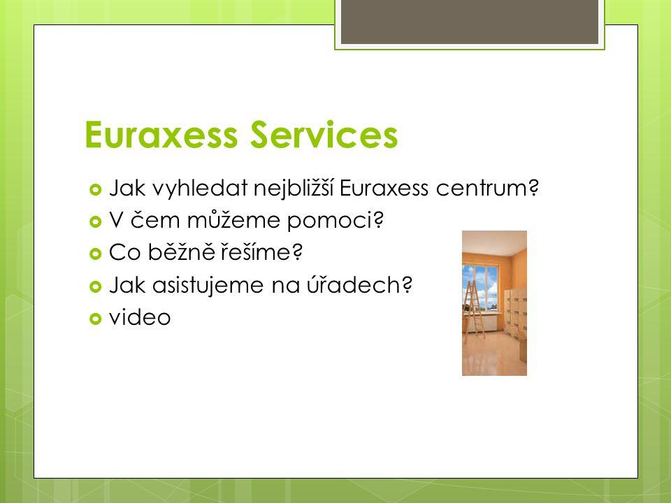 Euraxess Services  Jak vyhledat nejbližší Euraxess centrum?  V čem můžeme pomoci?  Co běžně řešíme?  Jak asistujeme na úřadech?  video