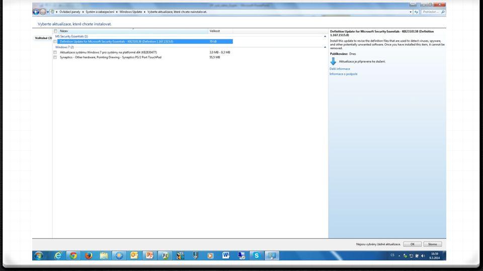 Windows update 0 Volba změnit nastavení slouží ke změně nastavení: 0 Jak a kdy se mají aktualizace stahovat 0 Jak a kdy se mají instalovat
