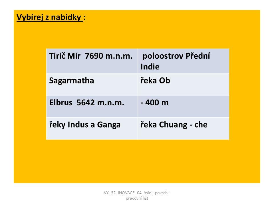 Vybírej z nabídky : Tirič Mir 7690 m.n.m. poloostrov Přední Indie Sagarmathařeka Ob Elbrus 5642 m.n.m.- 400 m řeky Indus a Gangařeka Chuang - che VY_3