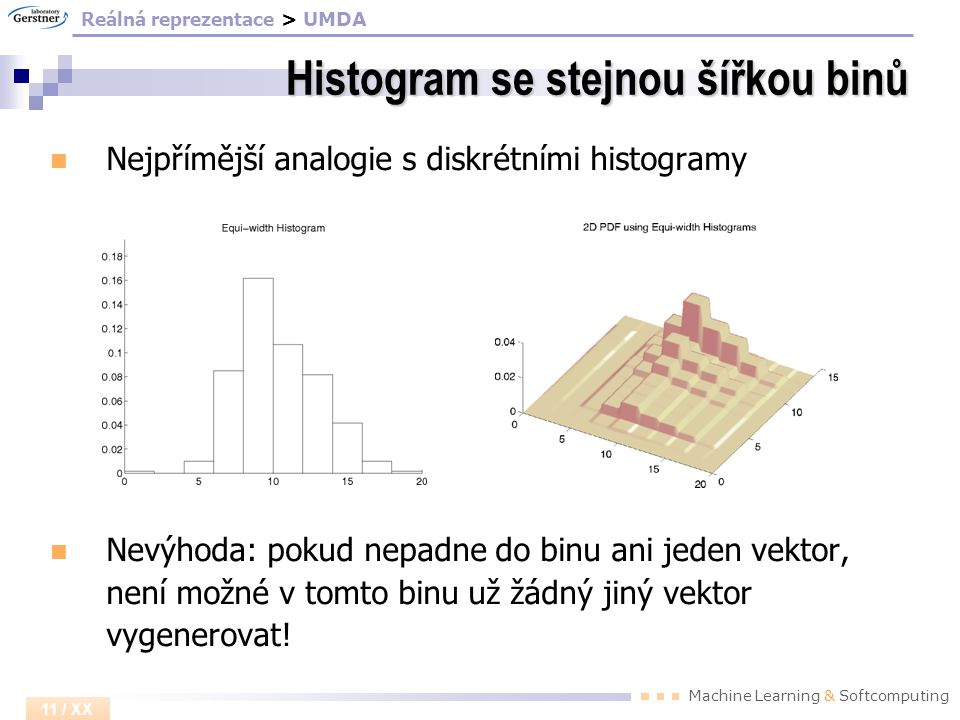 Machine Learning & Softcomputing 11 / XX Histogram se stejnou šířkou binů Nejpřímější analogie s diskrétními histogramy Nevýhoda: pokud nepadne do bin