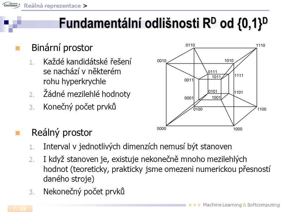 Machine Learning & Softcomputing 7 / XX Fundamentální odlišnosti R D od {0,1} D Binární prostor 1. Každé kandidátské řešení se nachází v některém rohu