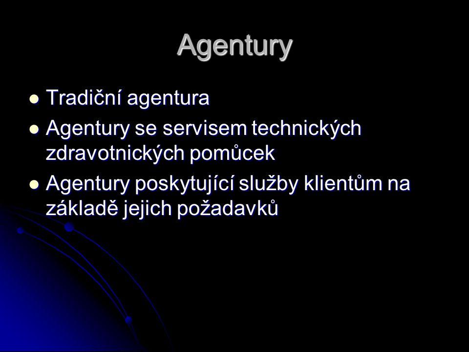 Agentury Tradiční agentura Tradiční agentura Agentury se servisem technických zdravotnických pomůcek Agentury se servisem technických zdravotnických p