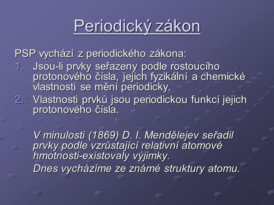 Periodická tabulka prvků grafické vyjádření periodického zákona Uspořádání prvků: - Podle vzrůstajícího protonového čísla -Do řad – 7, periody -Do sloupců – 8, skupiny Aby nebyla tabulka dlouhá, vyčleňujeme prvky ze 6.