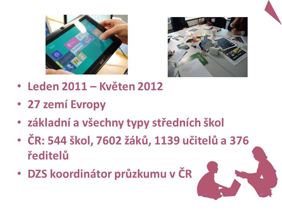 Leden 2011 – Květen 2012 27 zemí Evropy základní a všechny typy středních škol ČR: 544 škol, 7602 žáků, 1139 učitelů a 376 ředitelů DZS koordinátor průzkumu v ČR