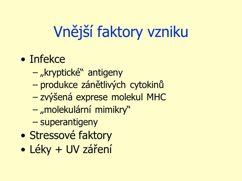 """Vnější faktory vzniku Infekce –""""kryptické"""" antigeny –produkce zánětlivých cytokinů –zvýšená exprese molekul MHC –""""molekulární mimikry"""" –superantigeny"""