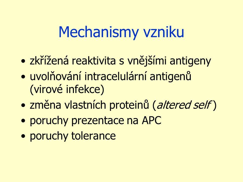 Mechanismy vzniku zkřížená reaktivita s vnějšími antigeny uvolňování intracelulární antigenů (virové infekce) změna vlastních proteinů (altered self ) poruchy prezentace na APC poruchy tolerance