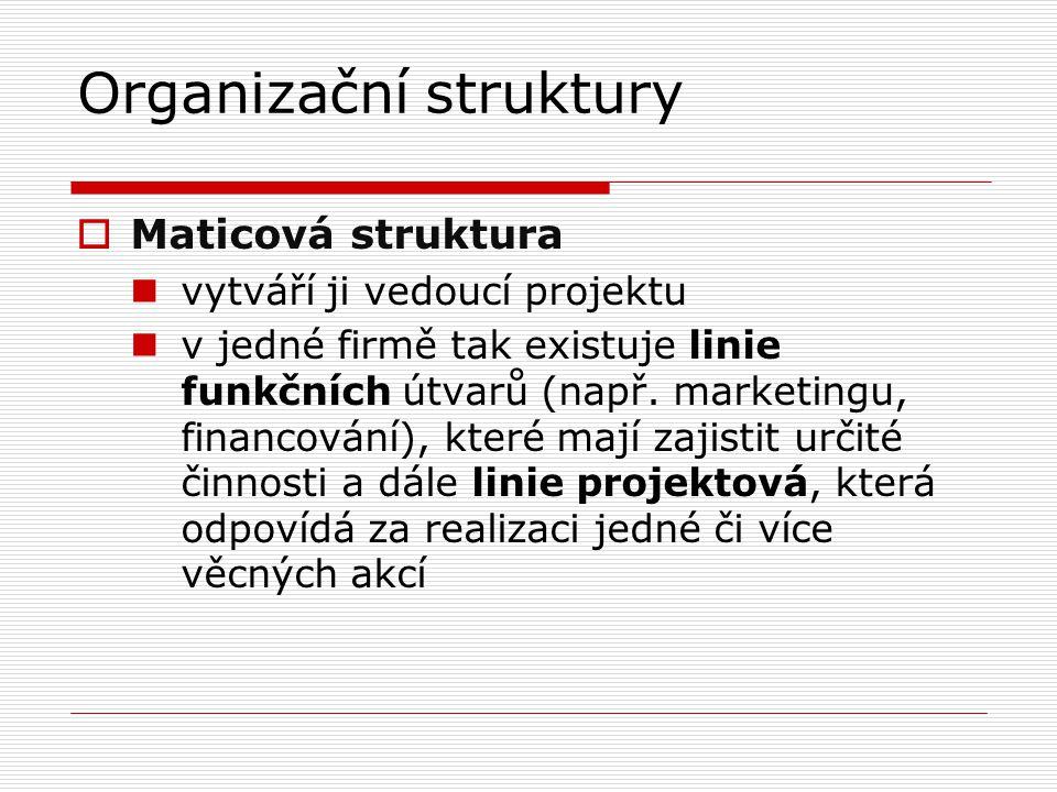 Organizační struktury  Maticová struktura vytváří ji vedoucí projektu v jedné firmě tak existuje linie funkčních útvarů (např. marketingu, financován