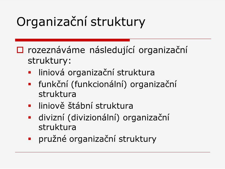 Organizační struktury  rozeznáváme následující organizační struktury:  liniová organizační struktura  funkční (funkcionální) organizační struktura  liniově štábní struktura  divizní (divizionální) organizační struktura  pružné organizační struktury