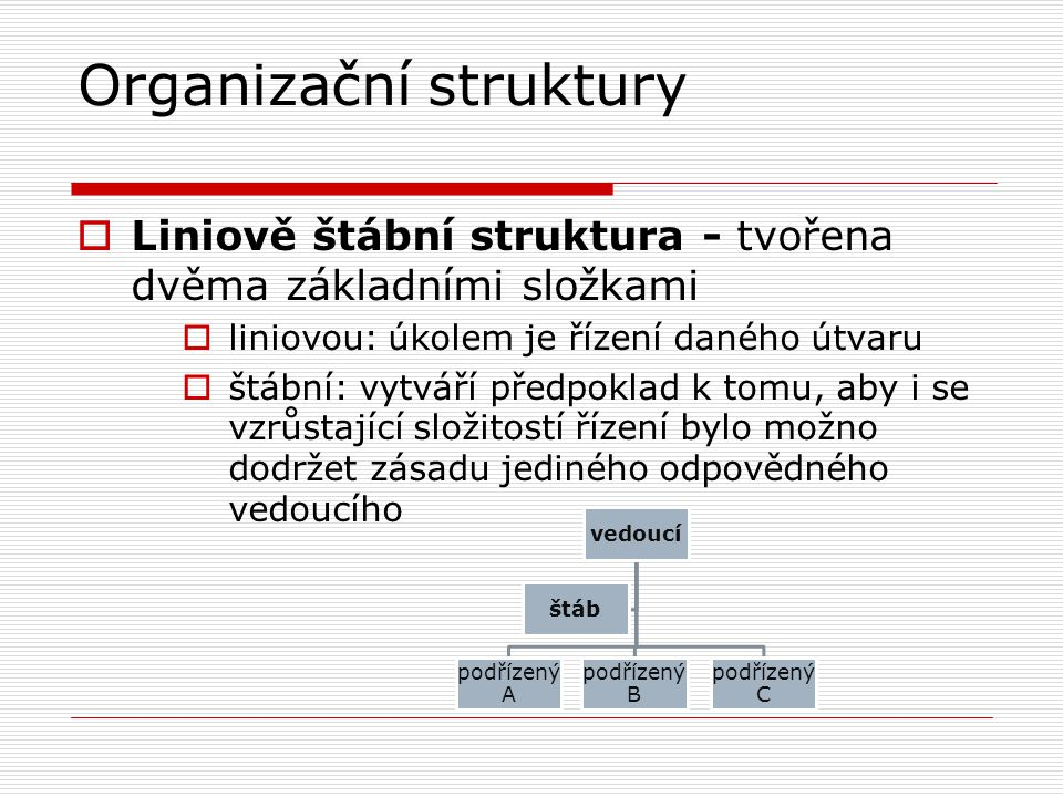 Organizační struktury  Liniově štábní struktura - tvořena dvěma základními složkami  liniovou: úkolem je řízení daného útvaru  štábní: vytváří před