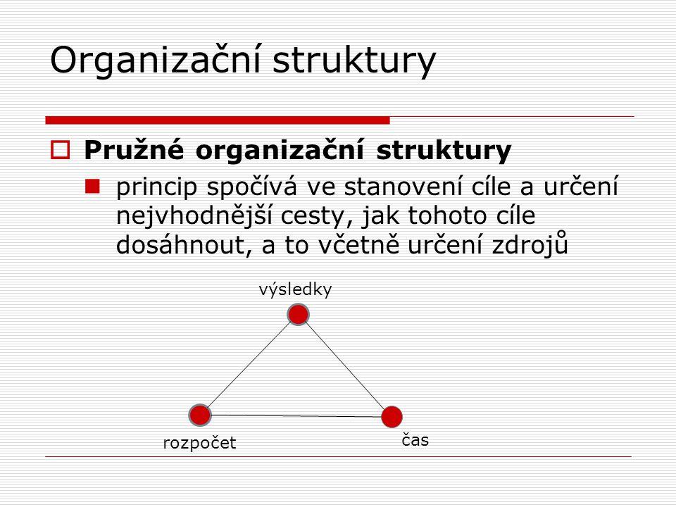 Organizační struktury  Pružné organizační struktury princip spočívá ve stanovení cíle a určení nejvhodnější cesty, jak tohoto cíle dosáhnout, a to včetně určení zdrojů výsledky rozpočet čas