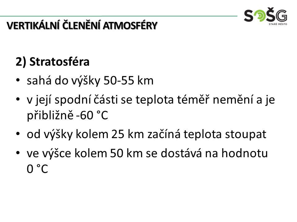 VERTIKÁLNÍ ČLENĚNÍ ATMOSFÉRY 2) Stratosféra sahá do výšky 50-55 km v její spodní části se teplota téměř nemění a je přibližně -60 °C od výšky kolem 25 km začíná teplota stoupat ve výšce kolem 50 km se dostává na hodnotu 0 °C