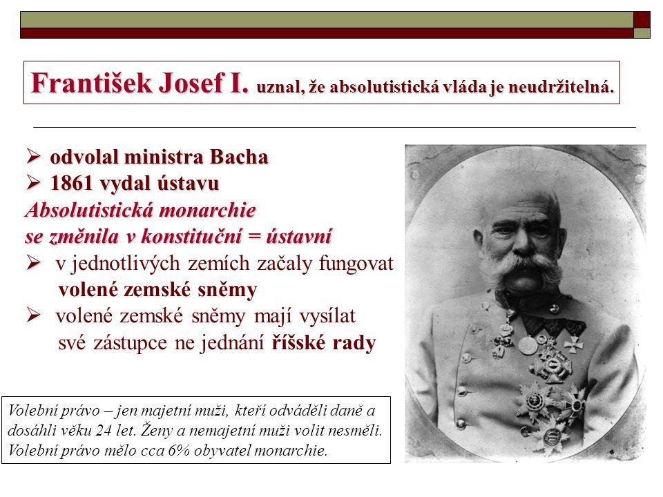František Josef I. uznal, že absolutistická vláda je neudržitelná.