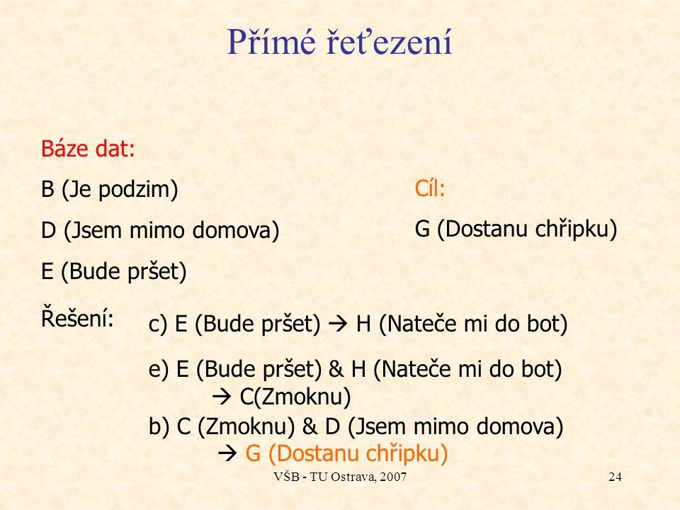 VŠB - TU Ostrava, 200723 Příklad a)A (Je zamračeno.) & B (Je podzim.)  E (Bude pršet.) b)C (Zmoknu.) & D (Jsem mimo domova.)  G (Dostanu chřipku.) c
