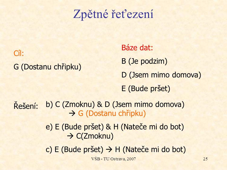 VŠB - TU Ostrava, 200724 Přímé řeťezení Báze dat: B (Je podzim) D (Jsem mimo domova) E (Bude pršet) Cíl: G (Dostanu chřipku) Řešení: c) E (Bude pršet)