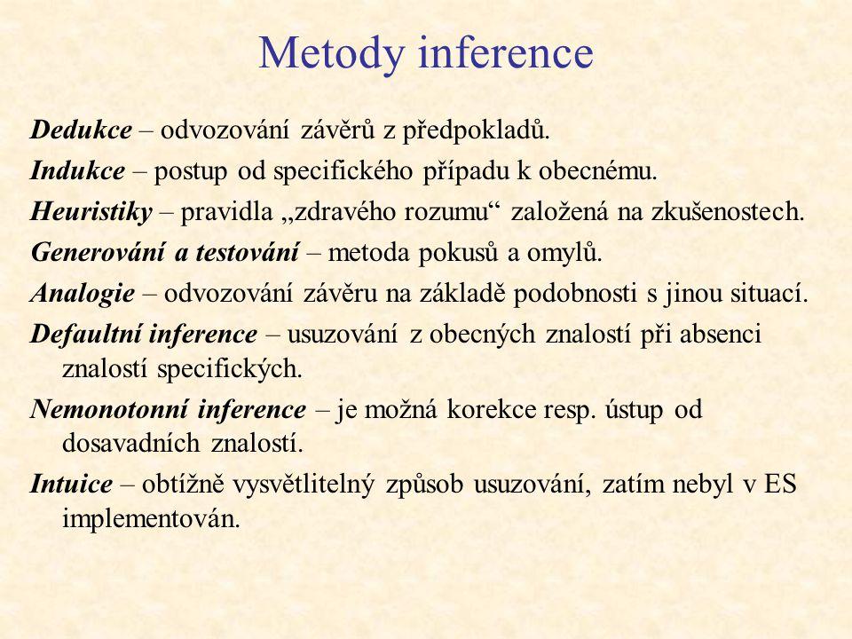 Inferenční mechanismus Inferenční mechanismus obsahuje obecné (oborově nezávislé) algoritmy schopné řešit problémy na základě manipulace se znalostmi