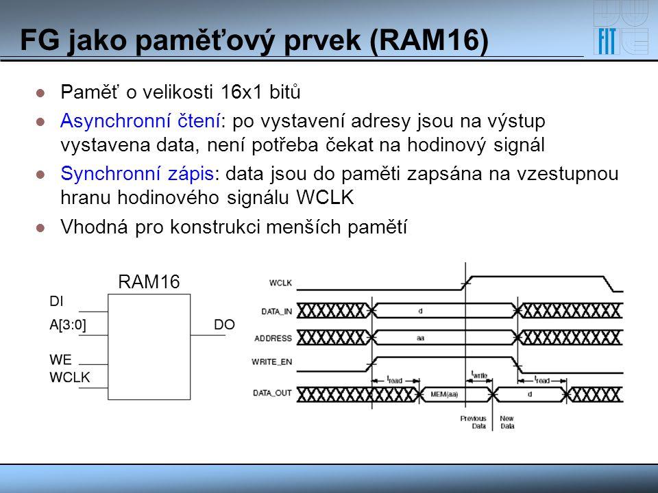 FG jako paměťový prvek (RAM16) Paměť o velikosti 16x1 bitů Asynchronní čtení: po vystavení adresy jsou na výstup vystavena data, není potřeba čekat na