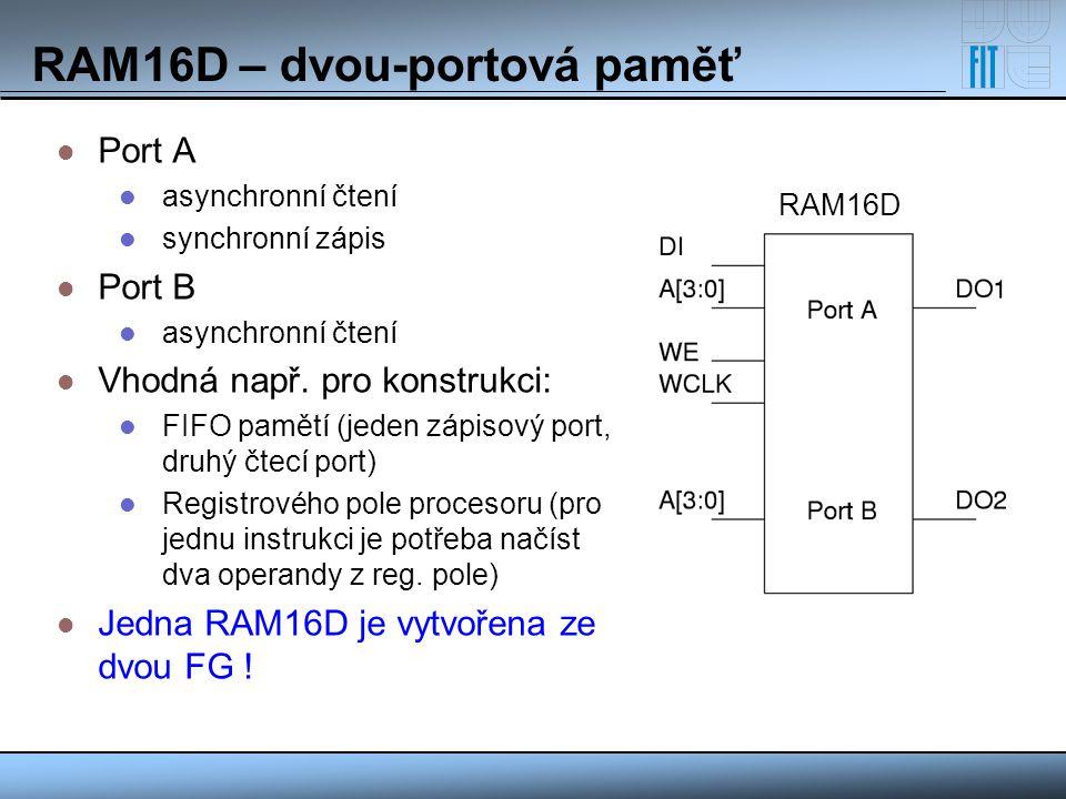 RAM16D – dvou-portová paměť Port A asynchronní čtení synchronní zápis Port B asynchronní čtení Vhodná např. pro konstrukci: FIFO pamětí (jeden zápisov