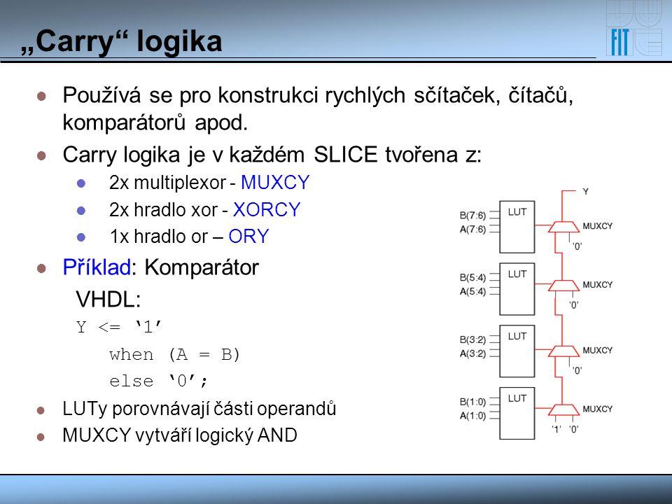 """""""Carry"""" logika Používá se pro konstrukci rychlých sčítaček, čítačů, komparátorů apod. Carry logika je v každém SLICE tvořena z: 2x multiplexor - MUXCY"""