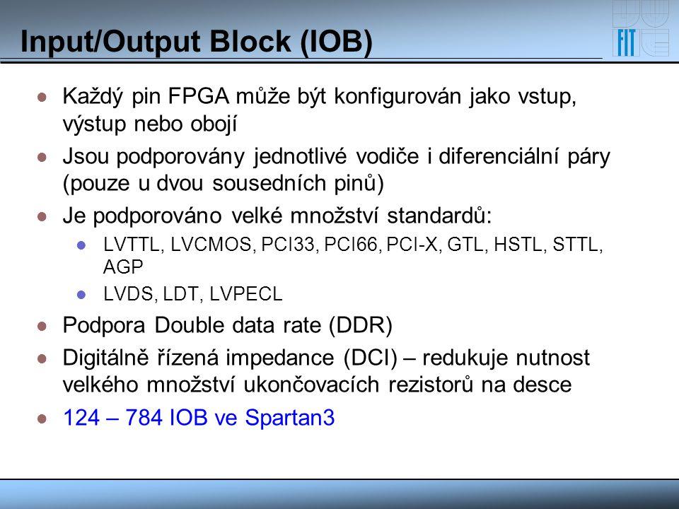 Input/Output Block (IOB) Každý pin FPGA může být konfigurován jako vstup, výstup nebo obojí Jsou podporovány jednotlivé vodiče i diferenciální páry (p