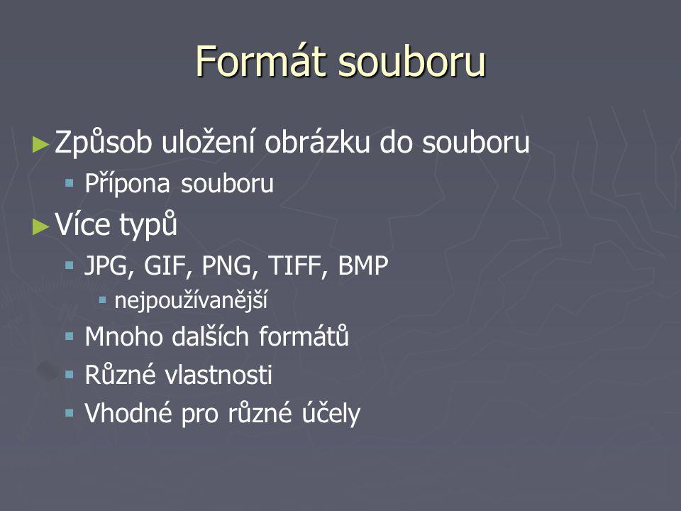 Formát souboru ► ► Způsob uložení obrázku do souboru   Přípona souboru ► ► Více typů   JPG, GIF, PNG, TIFF, BMP   nejpoužívanější   Mnoho dalš