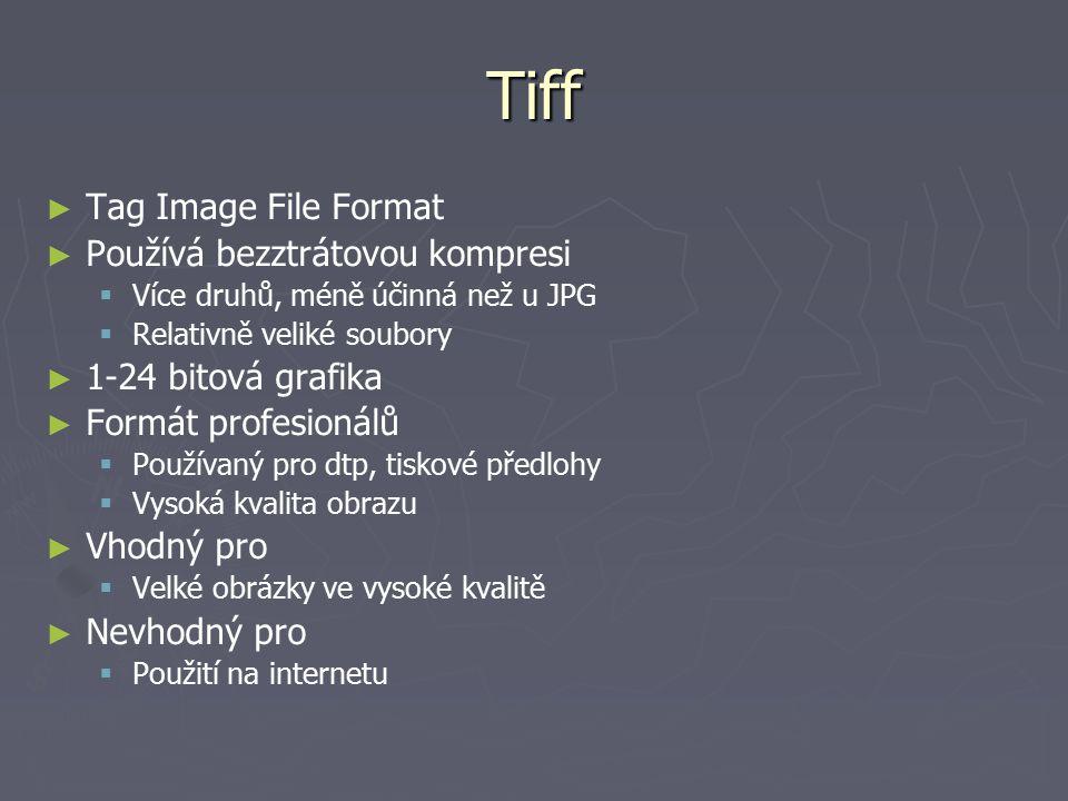 Tiff ► ► Tag Image File Format ► ► Používá bezztrátovou kompresi   Více druhů, méně účinná než u JPG   Relativně veliké soubory ► ► 1-24 bitová gr