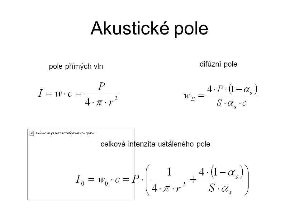 Akustické pole pole přímých vln difúzní pole celková intenzita ustáleného pole