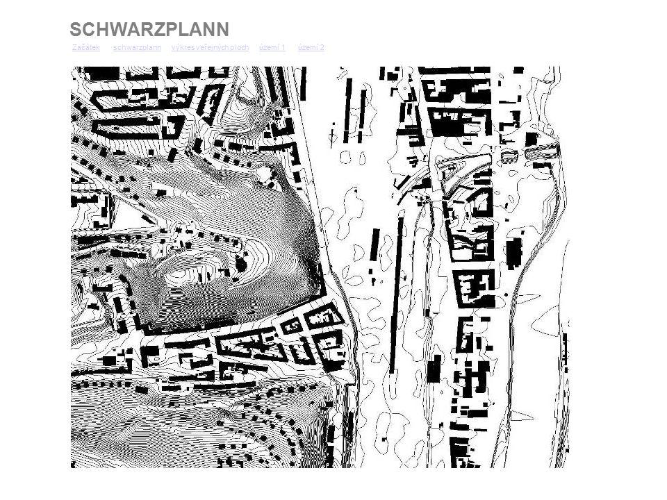 SCHWARZPLANN ZačátekZačátek schwarzplann výkres veřejných ploch území 1 území 2schwarzplannvýkres veřejných plochúzemí 1území 2 Území 2 území 1