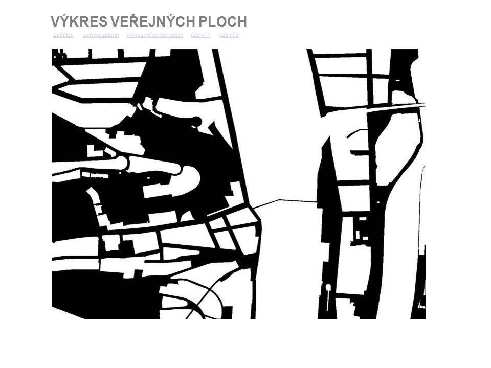 FOTOGRAFIE NÁMĚSTÍ ŘEZ RADLICKOU ULICÍ ZačátekZačátek schwarzplann výkres veřejných ploch území 1 území 2schwarzplannvýkres veřejných plochúzemí 1území 2