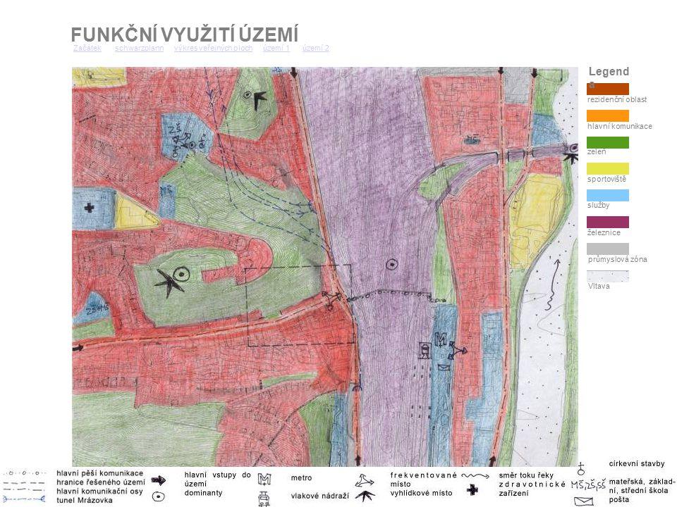 FUNKČNÍ VYUŽITÍ ÚZEMÍ ZačátekZačátek schwarzplann výkres veřejných ploch území 1 území 2schwarzplannvýkres veřejných plochúzemí 1území 2 zeleň hlavní