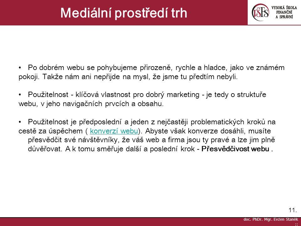 11. doc. PhDr. Mgr. Evžen Staněk :: Mediální prostředí trh Po dobrém webu se pohybujeme přirozeně, rychle a hladce, jako ve známém pokoji. Takže nám a