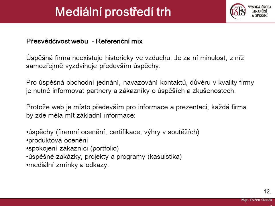 12. Mgr. Evžen Staněk :: Mediální prostředí trh Přesvědčivost webu - Referenční mix Úspěšná firma neexistuje historicky ve vzduchu. Je za ní minulost,