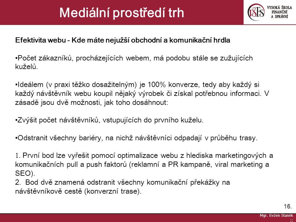 16. Mgr. Evžen Staněk :: Mediální prostředí trh Efektivita webu - Kde máte nejužší obchodní a komunikační hrdla Počet zákazníků, procházejících webem,