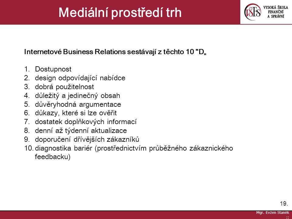 19. Mgr. Evžen Staněk :: Mediální prostředí trh Internetové Business Relations sestávají z těchto 10