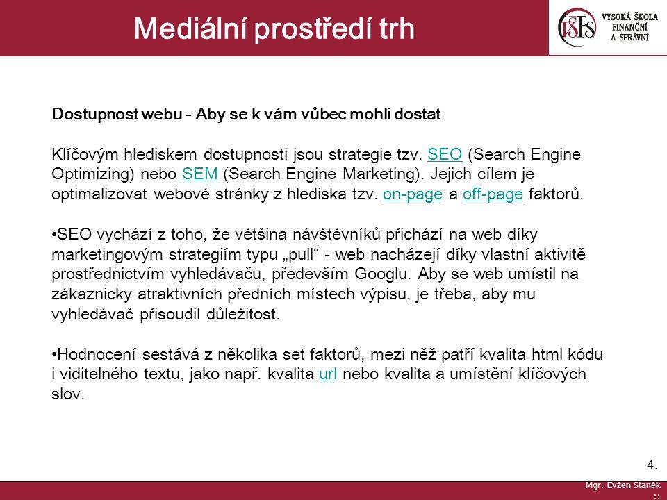 4.4. Mgr. Evžen Staněk :: Mediální prostředí trh Dostupnost webu - Aby se k vám vůbec mohli dostat Klíčovým hlediskem dostupnosti jsou strategie tzv.