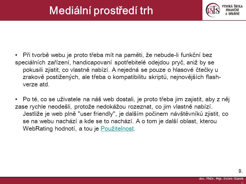 9.9. doc. PhDr. Mgr. Evžen Staněk :: Mediální prostředí trh Při tvorbě webu je proto třeba mít na paměti, že nebude-li funkční bez speciálních zařízen