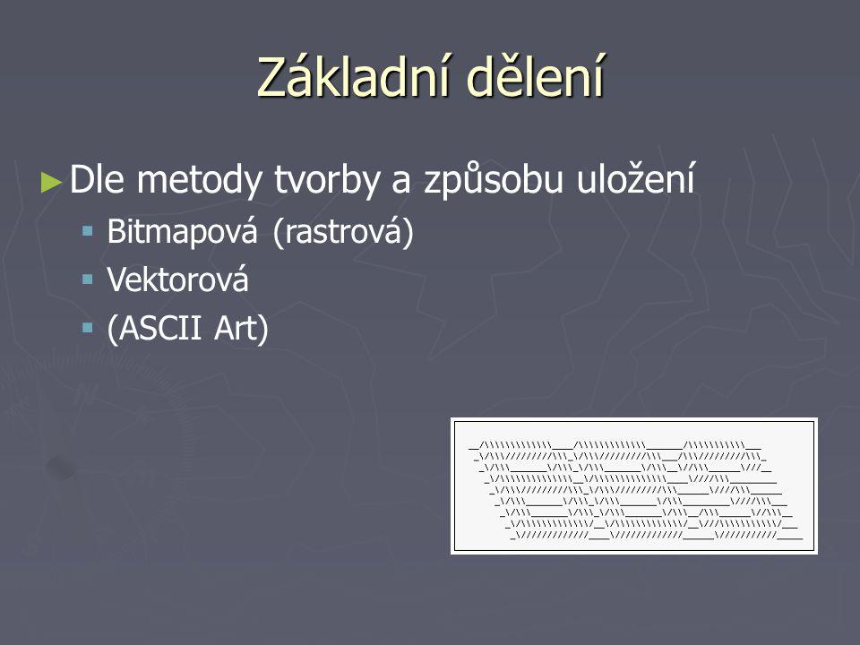 Základní dělení ► ► Dle metody tvorby a způsobu uložení   Bitmapová (rastrová)   Vektorová   (ASCII Art)