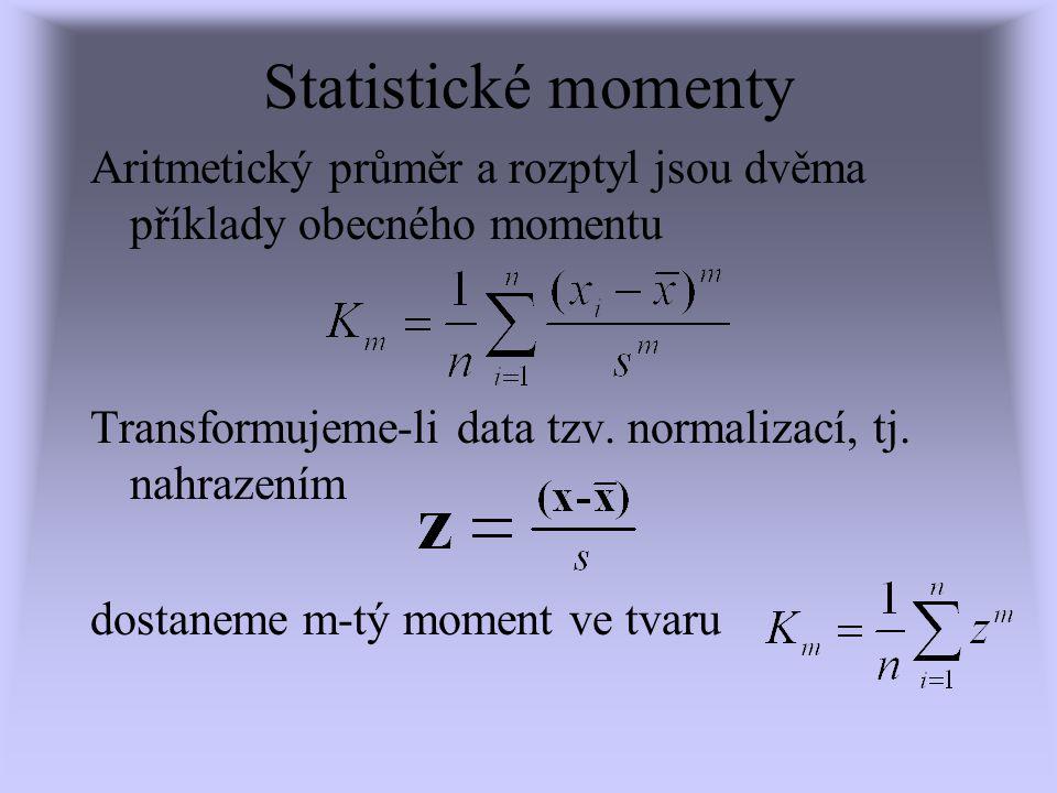 Statistické momenty Aritmetický průměr a rozptyl jsou dvěma příklady obecného momentu Transformujeme-li data tzv. normalizací, tj. nahrazením dostanem