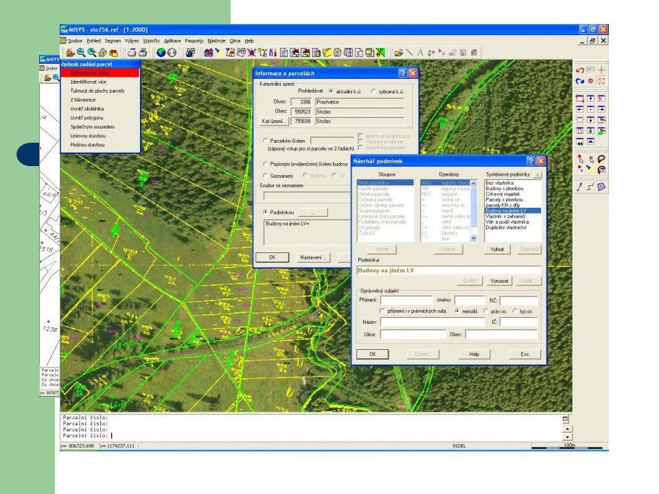 MAJETKOPRÁVNÍ VZTAHY poskytuje výpisy a grafické výstupy z katastru nemovitostí Nabízí jednoduché vyhledávání v databázi katastru nemovitostí a rychlé vyhledávání parcel a budov v katastrální mapě Přímo ze systému lze vyvolat on-line informace z veřejně přístupné webové aplikace