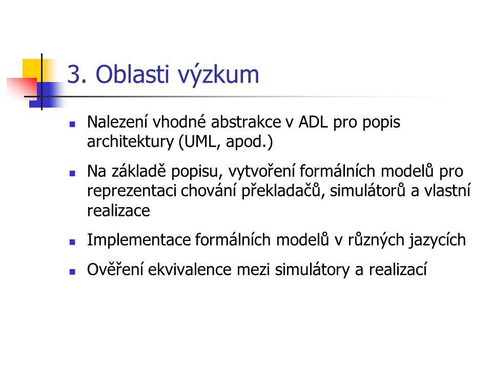 3. Oblasti výzkum Nalezení vhodné abstrakce v ADL pro popis architektury (UML, apod.) Na základě popisu, vytvoření formálních modelů pro reprezentaci