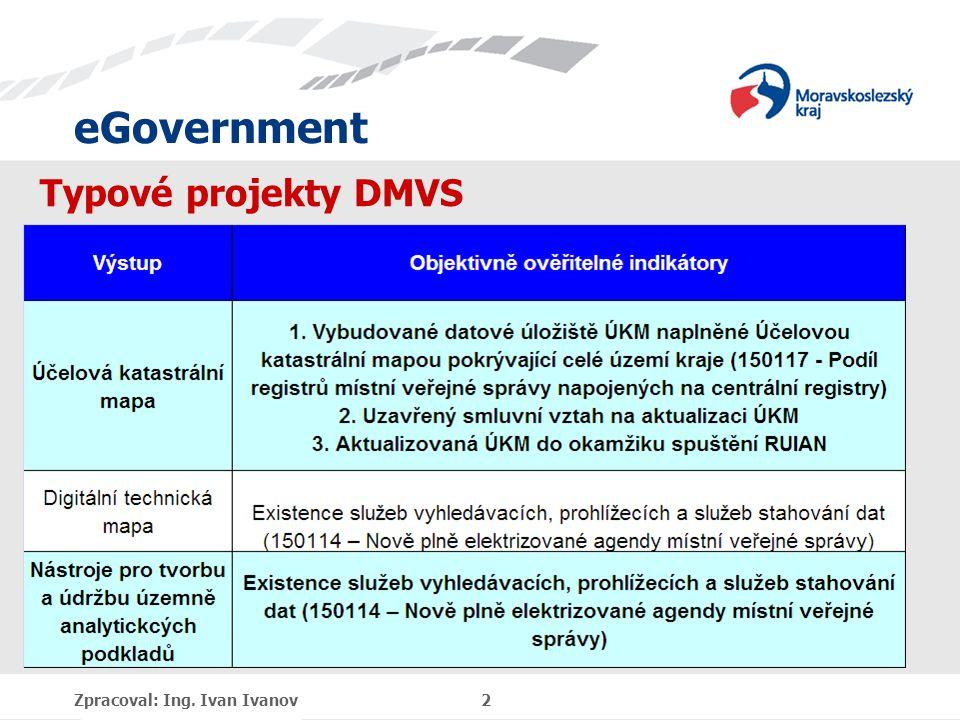 eGovernment Zpracoval: Ing. Ivan Ivanov 2 Typové projekty DMVS