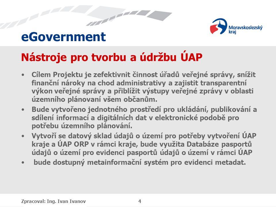 eGovernment Jednotná digitální technická mapa Cílem projektu je vytvoření jednotné digitální technické mapy Moravskoslezského kraje, čímž dojde k zefektivnění činnosti úřadů veřejné správy, snížení finančních nároků na chod administrativy a zajištění transparentního výkonu veřejné správy, tj.