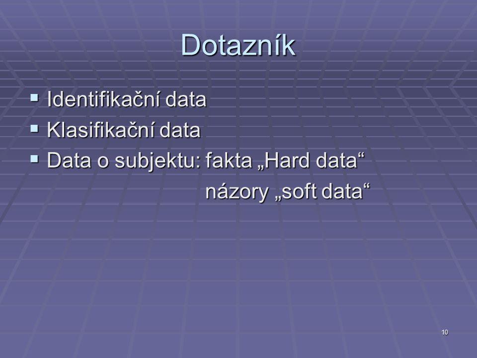 """10 Dotazník  Identifikační data  Klasifikační data  Data o subjektu: fakta """"Hard data"""" názory """"soft data"""" názory """"soft data"""""""