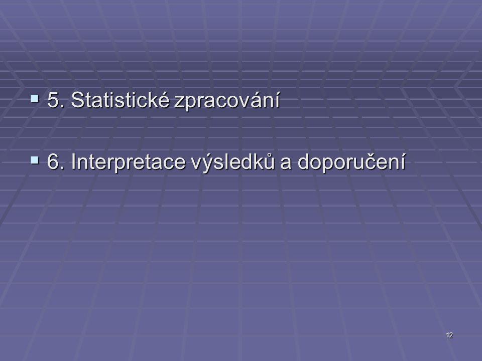 12  5. Statistické zpracování  6. Interpretace výsledků a doporučení