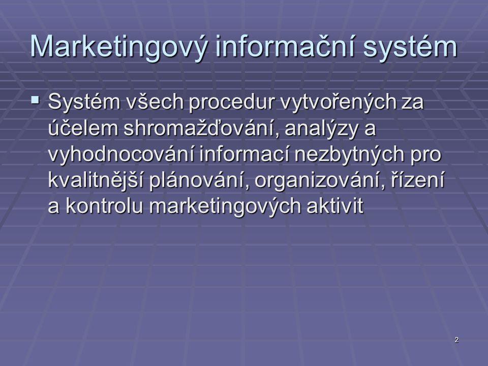 2  Systém všech procedur vytvořených za účelem shromažďování, analýzy a vyhodnocování informací nezbytných pro kvalitnější plánování, organizování, řízení a kontrolu marketingových aktivit