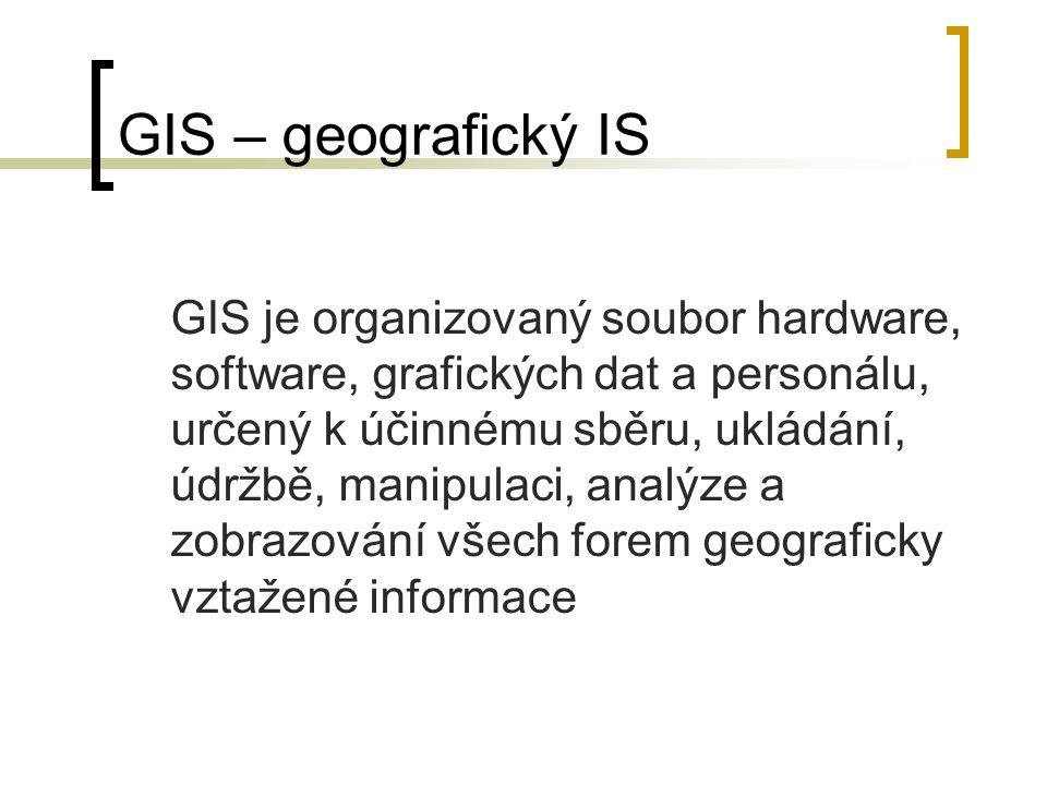 GIS – geografický IS GIS je organizovaný soubor hardware, software, grafických dat a personálu, určený k účinnému sběru, ukládání, údržbě, manipulaci,